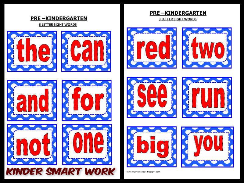 Kinder Smart Work 3 Letter Sight Words