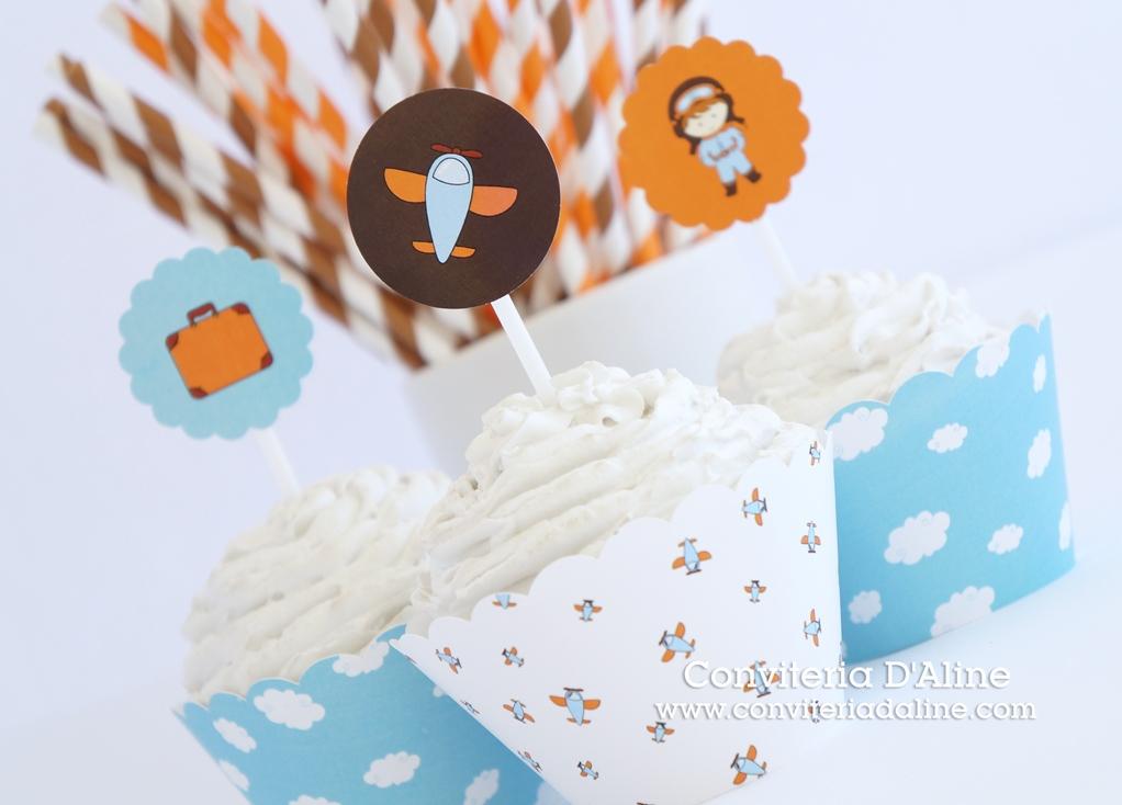 aviador topper wrapper cupcake