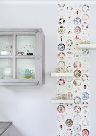 wallpaper with plates print