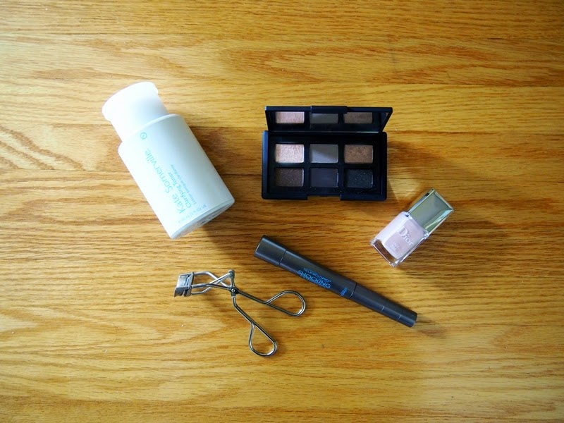 kate somerville clarifying treatment toner, shu uemura eyelash curler, l'oreal telescopic mascara, dior lady, nars and god created the woman palette