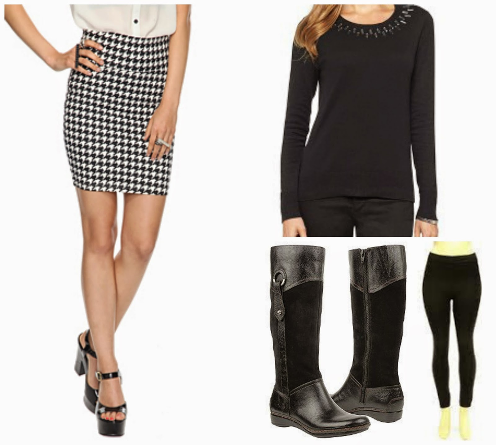 houndstooth skirt jeweled collar sweater, leggings, and boots