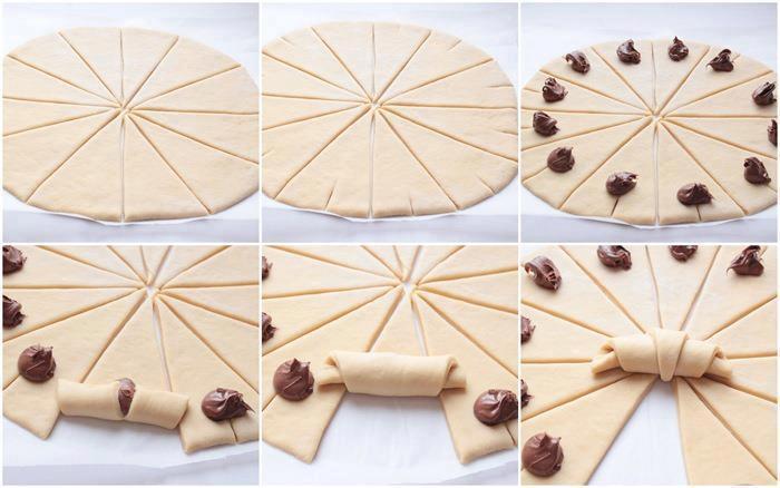 terecetario croissants de hojaldre y nutella