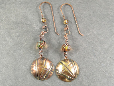 Naturally Antiqued Fold Formed Brass Earrings