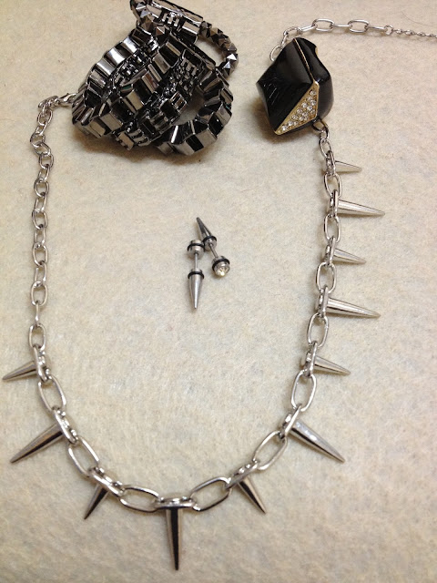 Spike Necklace and Earrings, Diamante Studded Ring and Forever 21 Bracelet