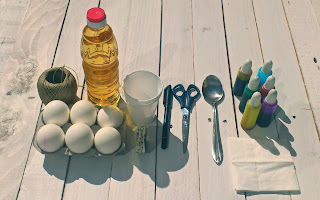 materiales tutorial huevos de pascua de colores
