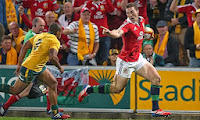 George North, North, Wales, British Lions, Lions, Rugby, Genia, Try, Point, Australia