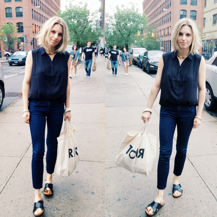 Suburban Riot tote bag, J Brand ankle jeans, dark indigo denim, slide sandals, birkenstock, H&M, gold jewelry, silk sleeveless top, Ann Taylor, blonde, blond bob, messy hair