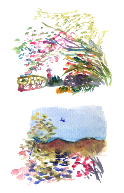 "Shiho Nakaza ""Los Angeles"" watercolor sketch pen spring flowers ""Descanso Gardens"""