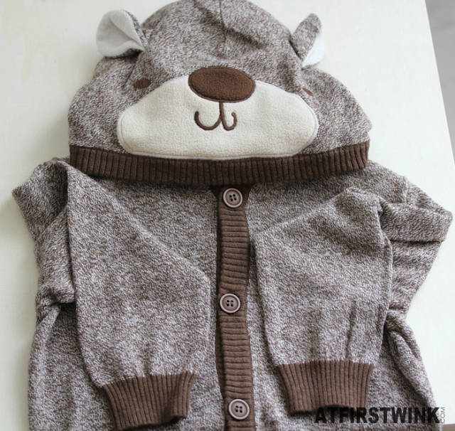 H&M brown baby vest with bear hoodie