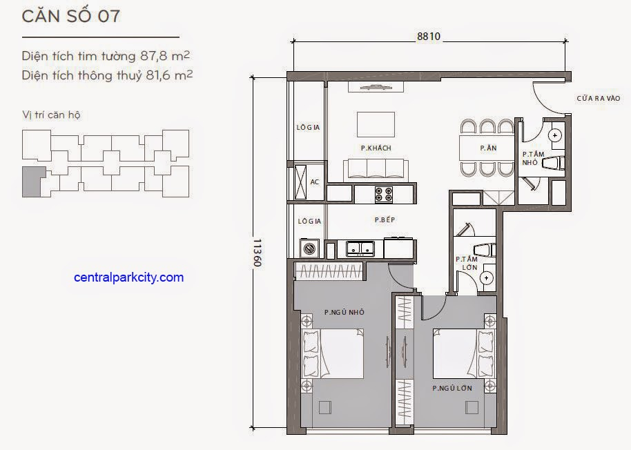 Căn hộ Landmark 2 & 3 - kiểu nhà số 07 - 87.8m2 - 2PN