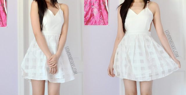 SheIn's backless white spaghetti-strap flare dress is the perfect little white sundress, with side cutouts, a sexy back design, and a cute organza skirt.
