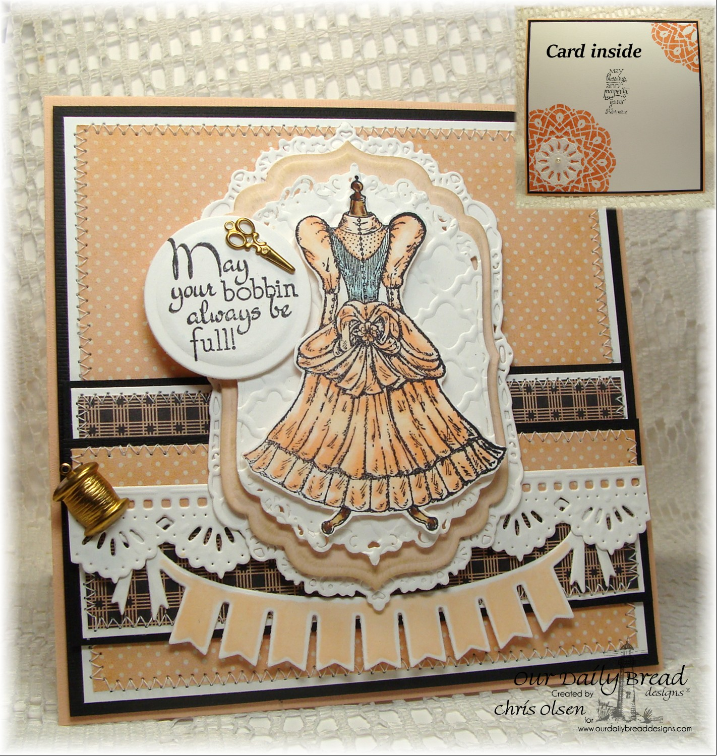 Stamps - Our Daily Bread Designs Birthday Doily, Felicity, Sewing, ODBD Custom Beautiful Borders Dies, ODBD Custom Pennant Swag Die, ODBD Custom Recipe Card and Tags Dies