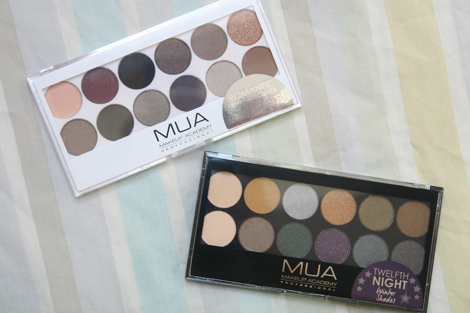 New MUA palettes: Romantic Efflorescence and Twelfth Night, review, blog, swatches
