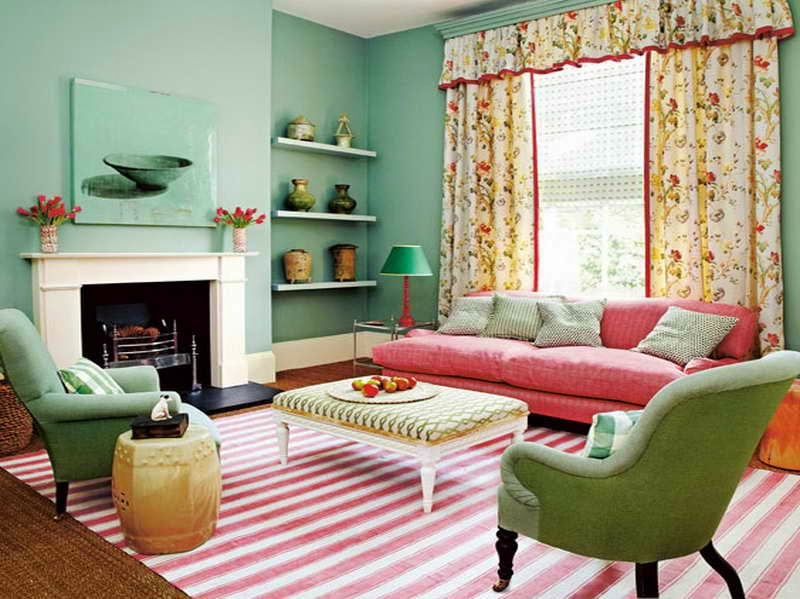 Mint Green Room Ideas with striped red carpet