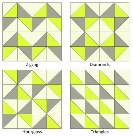 Quilting Patterns For Triangles : HALF SQUARE TRIANGLE BABY QUILT PATTERNS Sewing Patterns for Baby