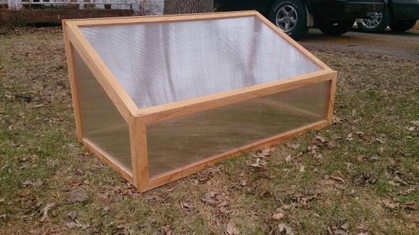 DIY wood and plastic greenhouse cold frame