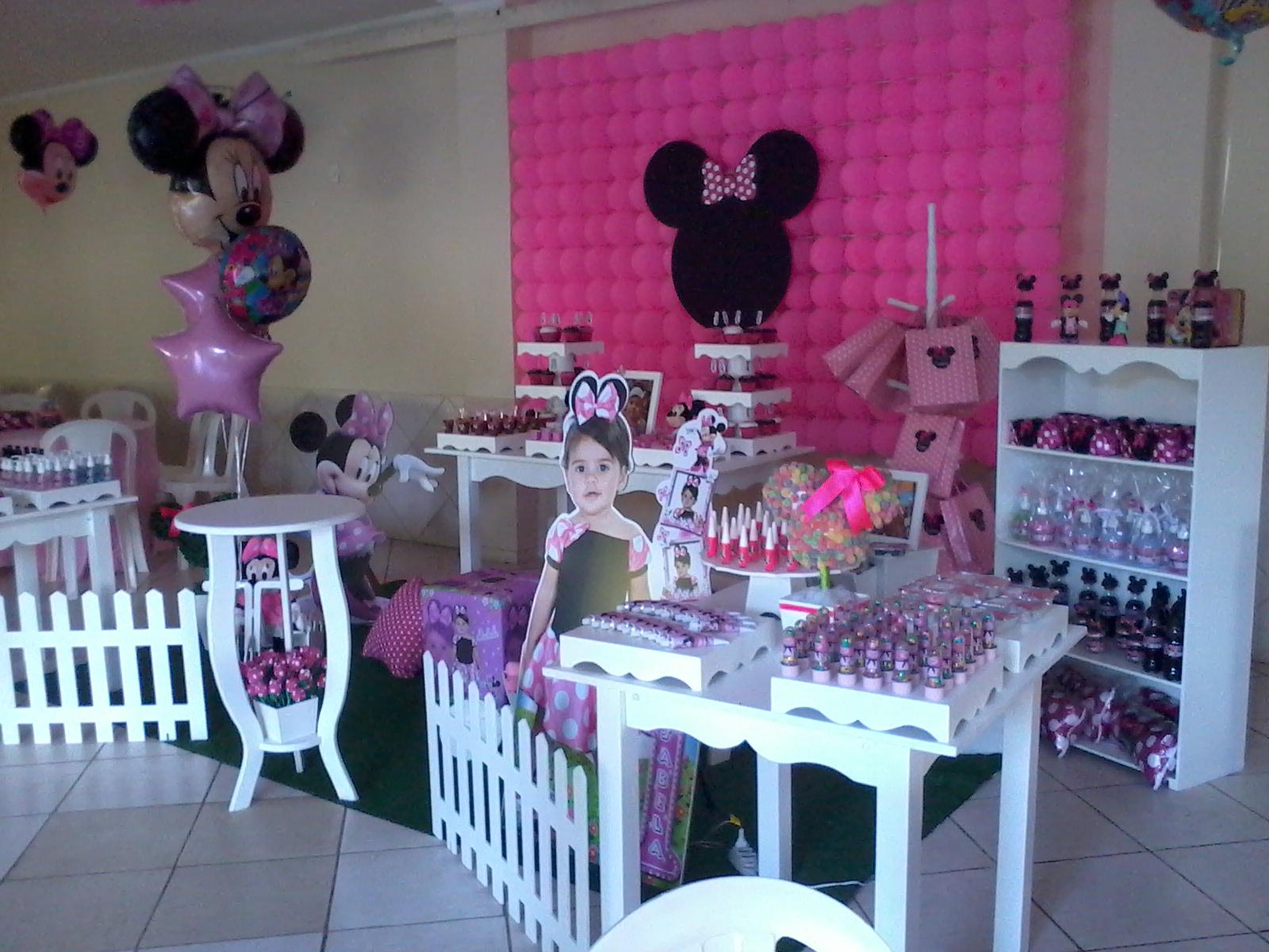 Festa Provençal RJ Painel em bolas da minie rosa ~ Quarto Rosa Da Minie