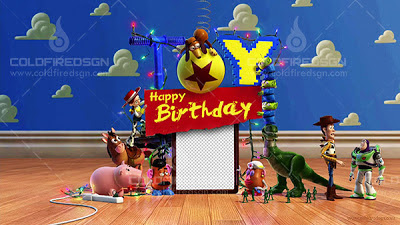 Toy Story 3 Birthday PSD Template Free