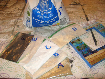 Zip Loc Bags hold grout colors. Labels on zip loc bags correspond to labels on grout bags