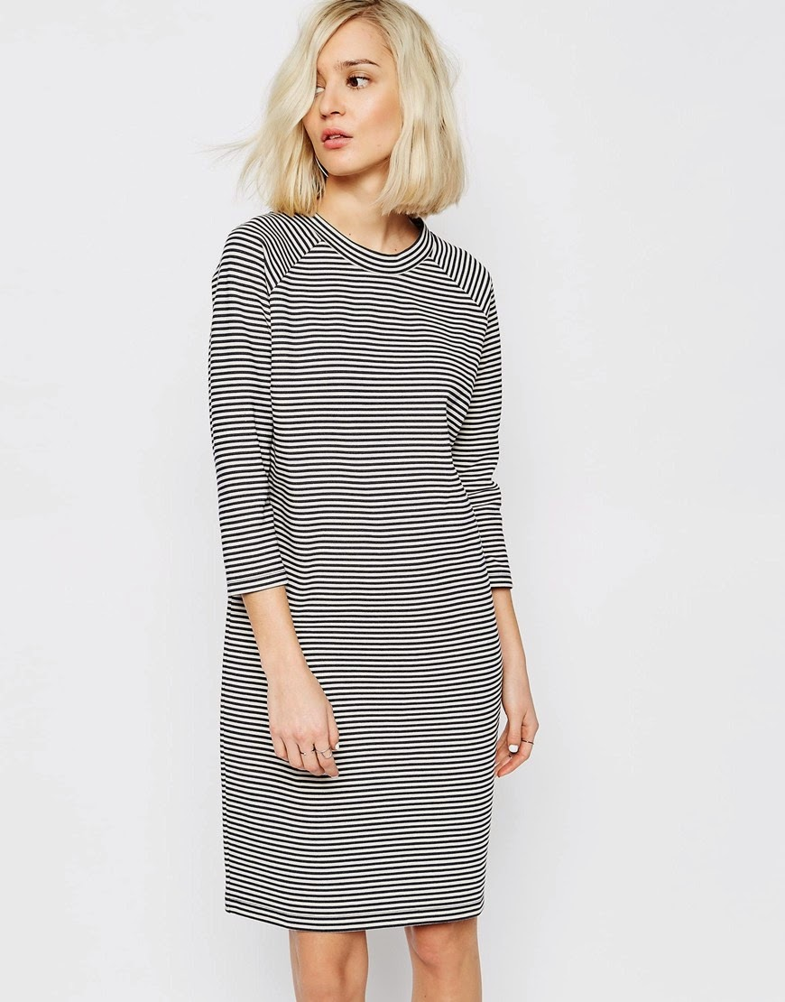 stripe high neck dress