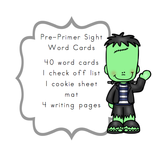 Sight Frankenstein printable for books  Pre Cards Primer sight Printables: Word Preschool word preschool
