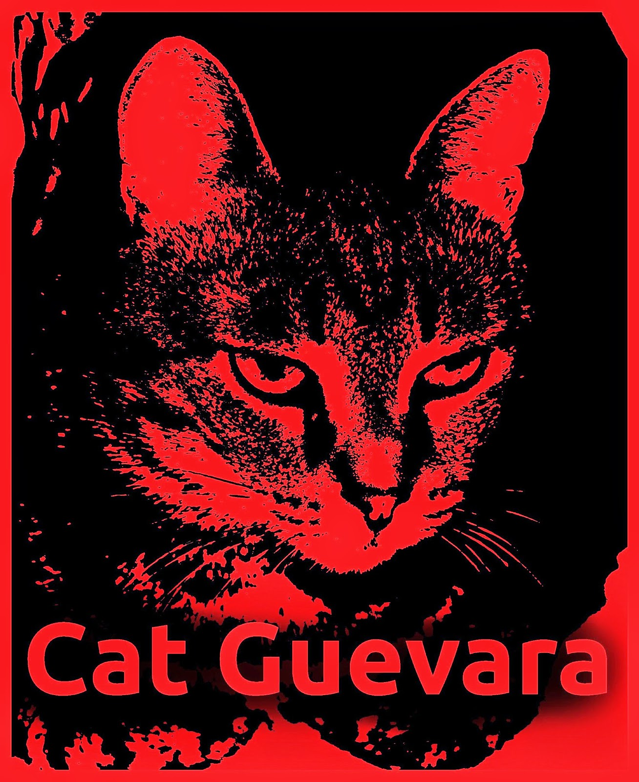 Cat artwork of airbrushed cat guevara