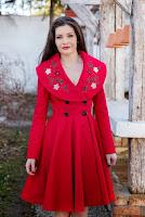 Trench rosu din doc de bumbac FLAVIA (Ama Fashion)