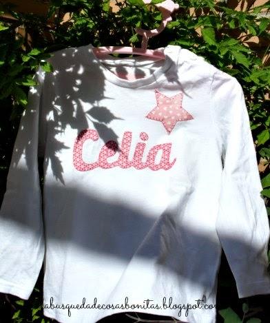 camiseta para niña con nombre en aplique