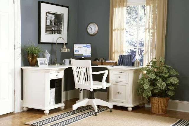 elegant white wooden office chairs close to gray wall along with l shaped white stained desk completed with metal study lamp
