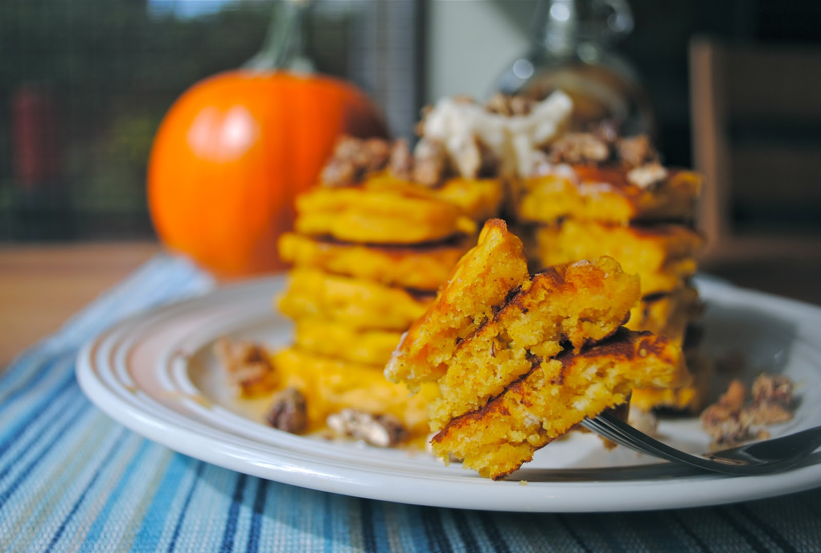 Pumpkin Pancakes with Maple Cream and