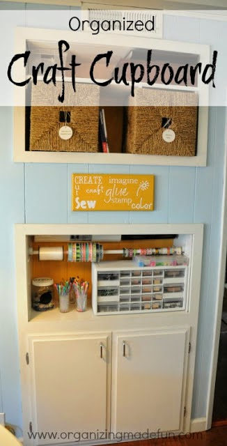 Organized craft cupboard in the family room for kids to use :: OrganizingMadeFun.com