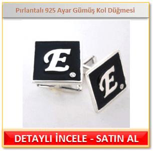 Kişiye Özel Pırlantalı 925 Ayar Gümüş Kol Düğmesi
