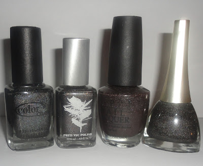 Priti NYC Lambstail cactus, OPI my private jet, Color club revvvolution and golden rose 118