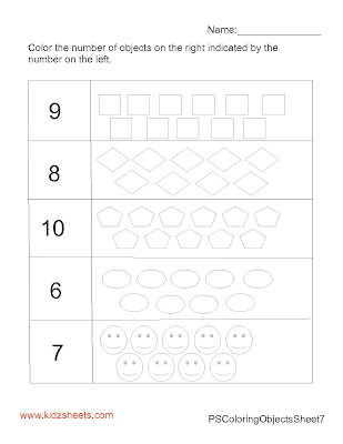 Preschool Counting Numbers Worksheets, Counting Worksheets, Colouring Worksheets, Kids Worksheets, Worksheets for free, Preschool Worksheets