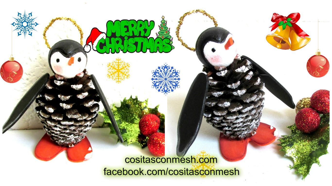 C mo hacer adornos navide os con pi as paso a paso - Como hacer centros navidenos ...