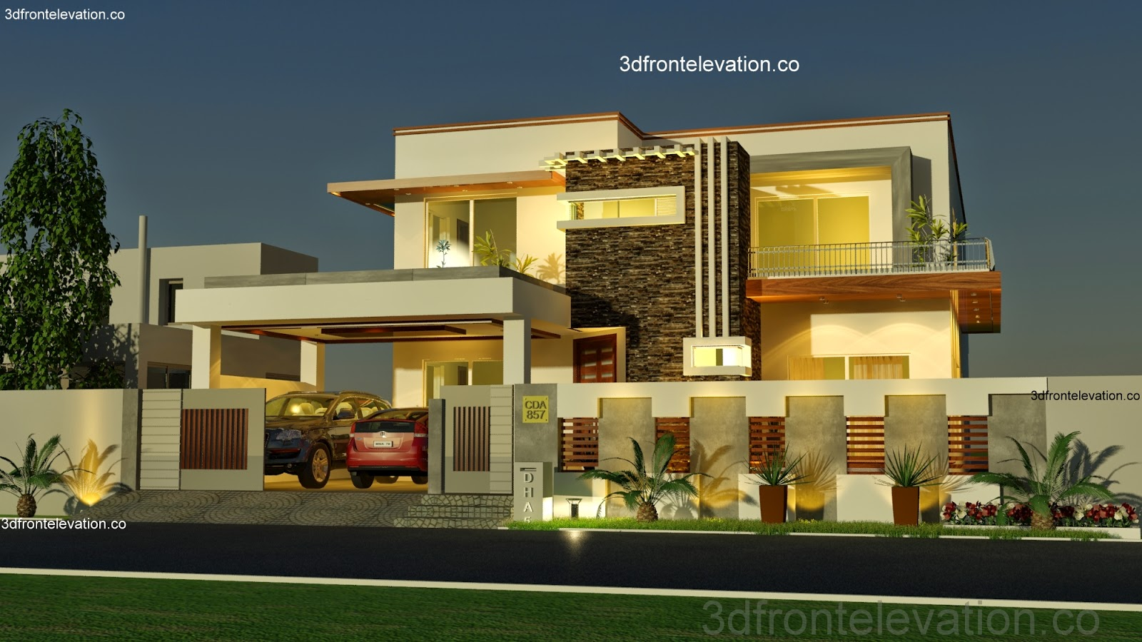 3d front 1 kanal house plan layout 50 39 x 90 for Two storey house design with floor plan with elevation