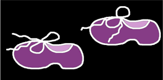 Zapatos de color violeta con cordones atados. Dibujos en trazos blancos sobre fondo negro ©Selene Garrido Guil