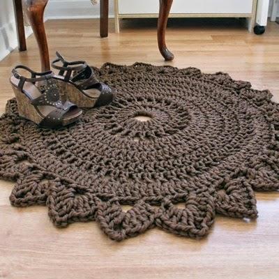 Patrones trapillo alfombra de trapillo a crochet - Como hacer un puff de trapillo ...
