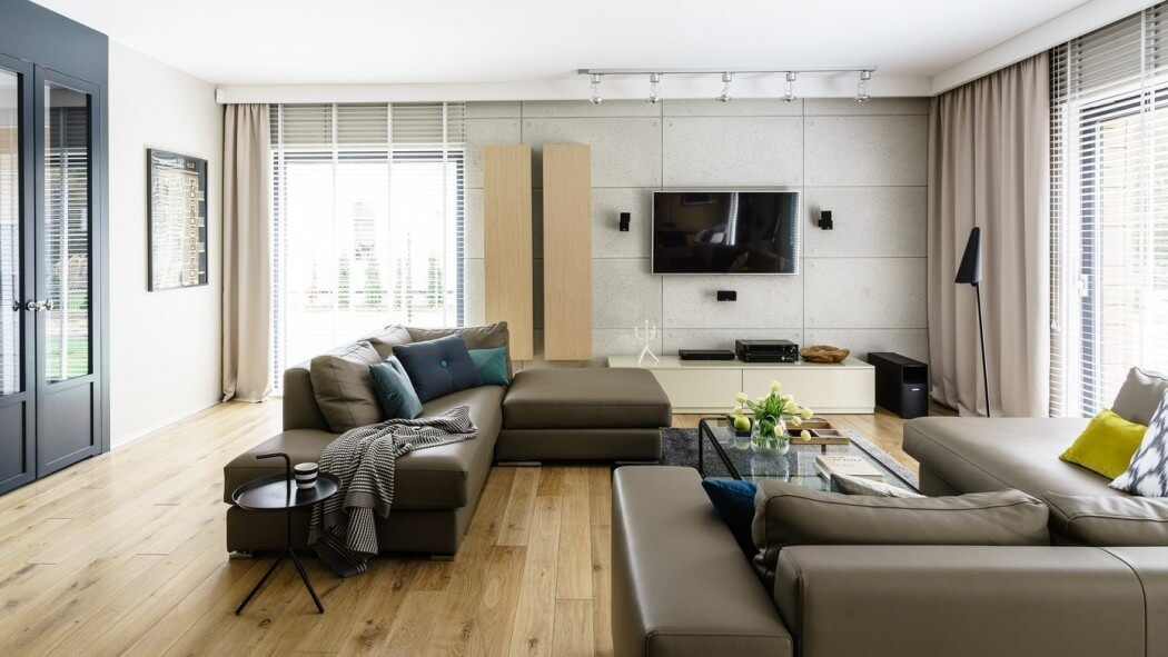 Sala decorada estilo moderno en marrón y azul   decoración de salas