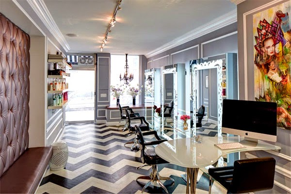 Una peluquer a en blanco negro y turquesa en nueva york - Ideas para decorar una peluqueria ...