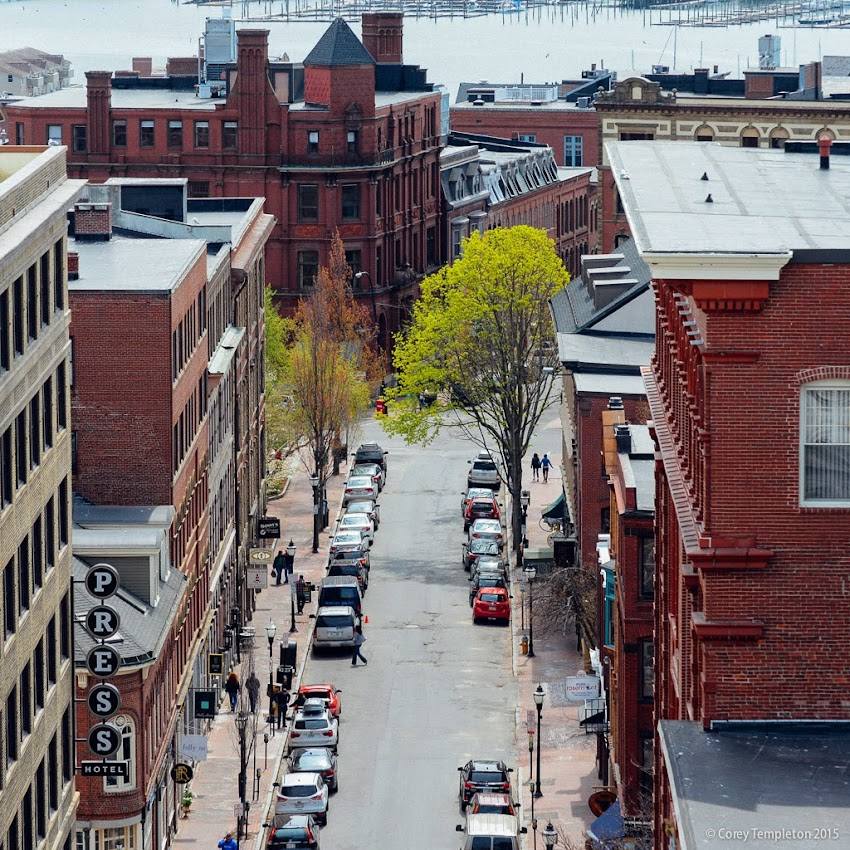 Exchange Street in the Old Port of Portland, Maine aerial view from City Hall. May 9, 2015. Photo by Corey Templeton.