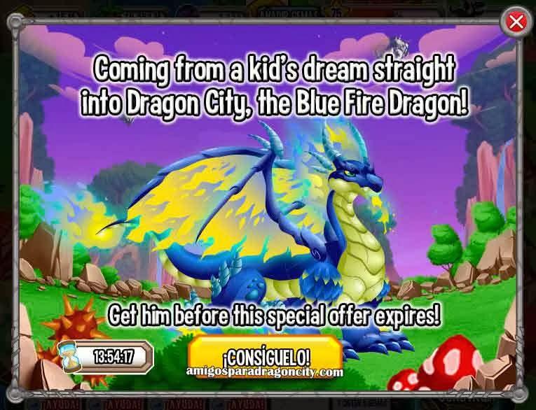 imagen de la oferta del dragon fuego azul de dragon city