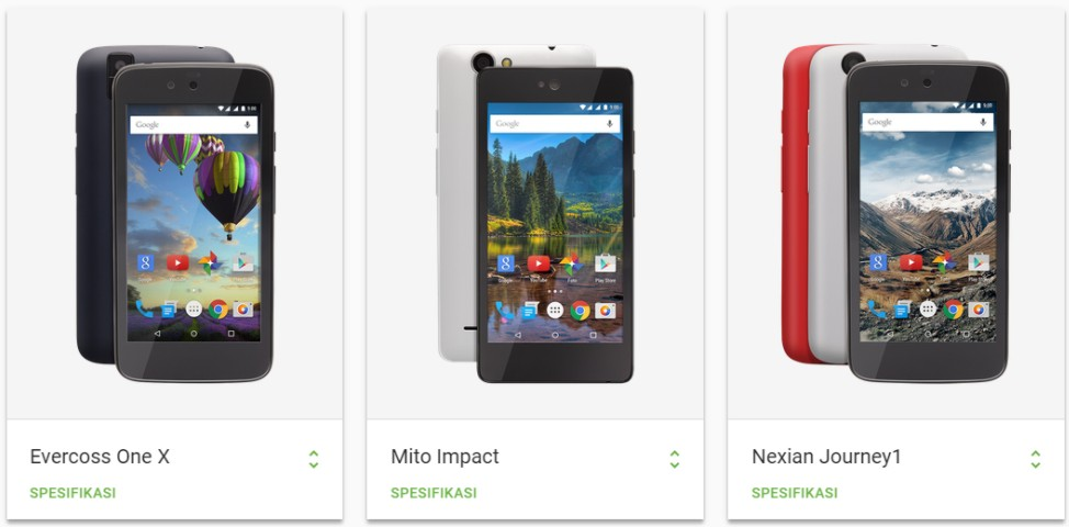 smartphone android one vendor lokal