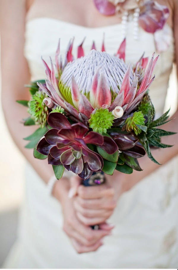 Novia con flor protea