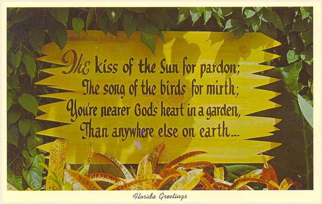 These Two Vintage Postcards Both Have Pictures Of Garden Signs In Florida With The Same Quotation By Dorothy Frances Gurney 1858 1932 An English Poet And