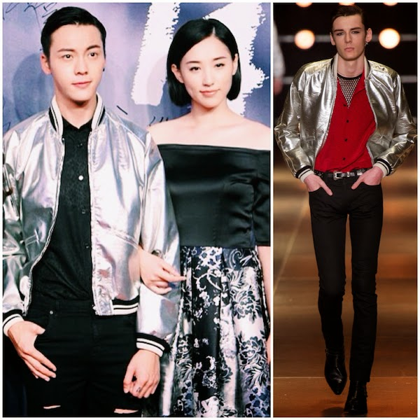 William Chan Wai-Ting wears Saint Laurent by Hedi Slimane Spring Summer 2014 silver leather varsity baseball jacket at Beijing premiere of BUT ALWAYS 27th August 20148月27日晚,陈伟霆亮相《一生一世》北京首映礼