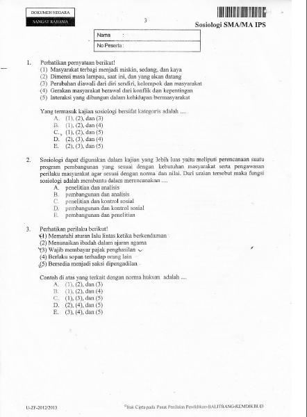 Soal UN Sosiologi SMA IPS Tahun 2013