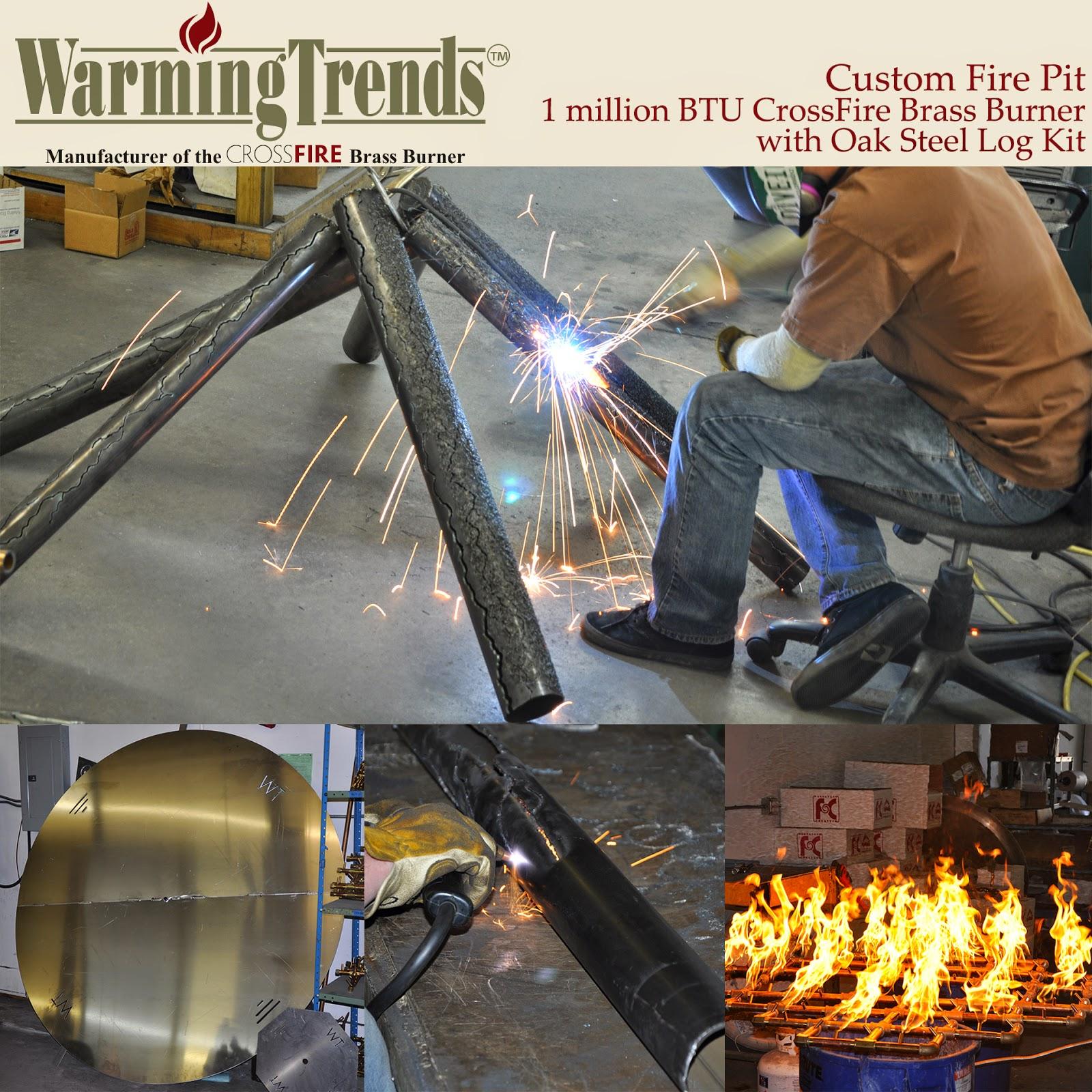 Custom Fire Pit - 1 Million BTU CrossFire Brass Burner with Oak Steel Log Set