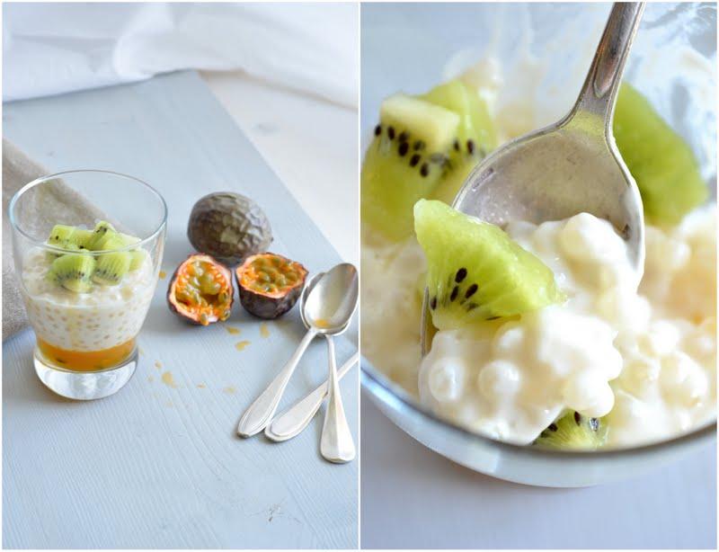 Perles du Japon au lait de coco et gelée de fruits de la passion