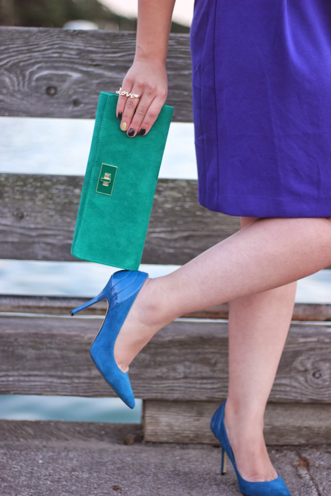 Emerald and Electric Blue Clutch and Heels